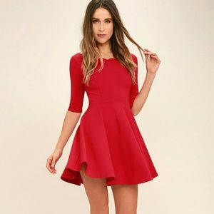Lulu's Dress Red Fit and Flare Skater Scalloped L